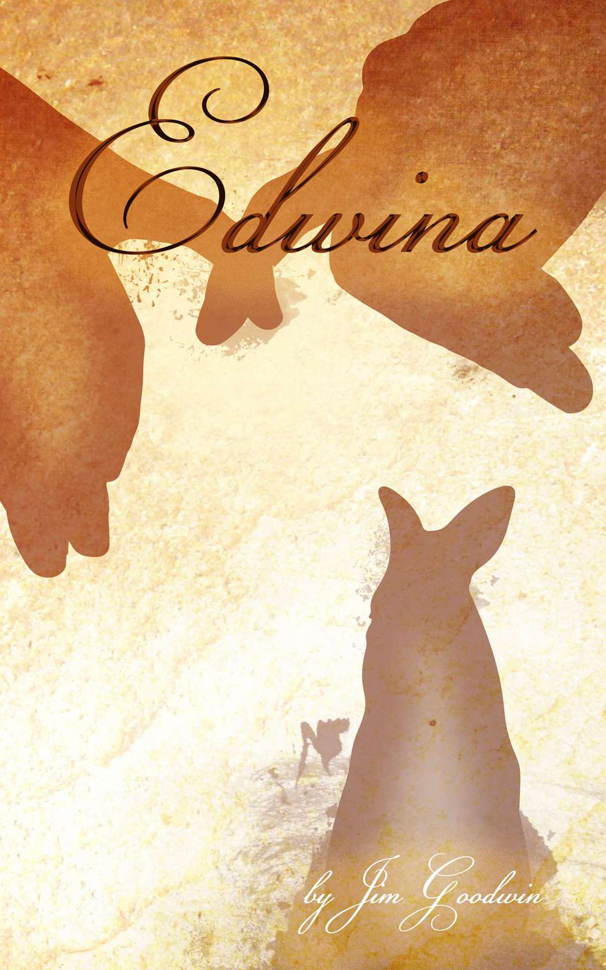 "The cover art for the romance fictional novel: ""Edwina"". Written by Author Jim Goodwin. Featuring a warm Rabbit below two fingers gently touching."