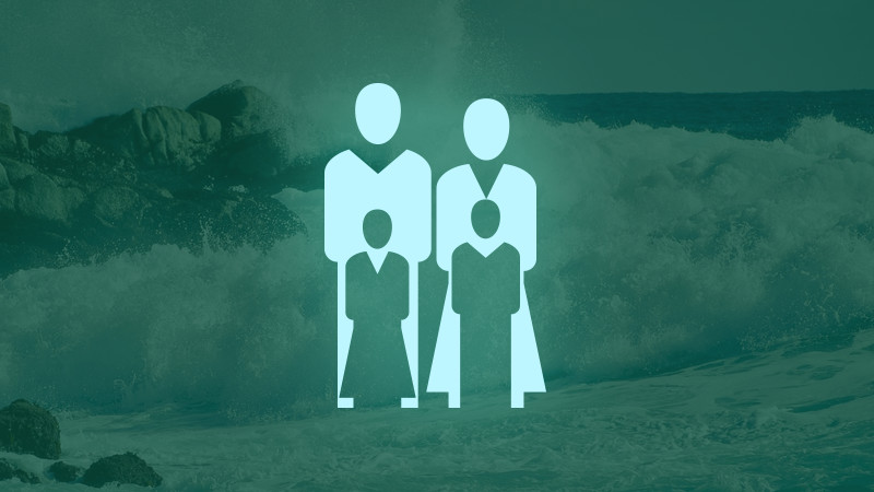 Family shaped icons, in front of a crashing wave, communicating the fiction genre of Family Saga for Jim Goodwin Books.